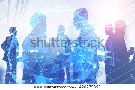 Business people silhouettes over abstract city background with double exposure of global digital network hologram. Concept of technology in business. Toned image #1420275353