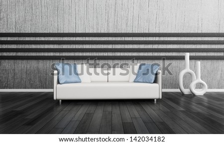 3d rendering of modern white couch in front of gray wall #142034182