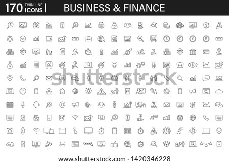 Big set of 170 Business and Finance web icons in line style. Money, bank, contact, infographic. Icon collection. Vector illustration. Royalty-Free Stock Photo #1420346228