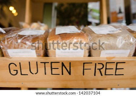 Gluten Free loaf of breads on display in a health food shop. Concept photo of healthy food lifestyle. Royalty-Free Stock Photo #142037104