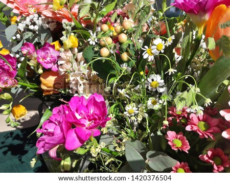 beautiful and colorful bouquet close-up #1420376504