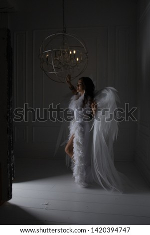 woman with angel wings in studio with white background #1420394747