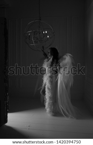 woman with angel wings in studio with white background #1420394750