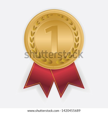 Winner gold medal with red ribbons. illustration #1420455689
