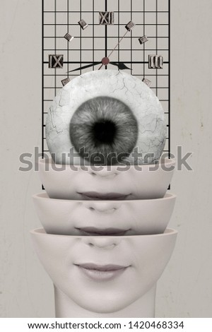 Divided woman head with eye. Contemporary art collage
