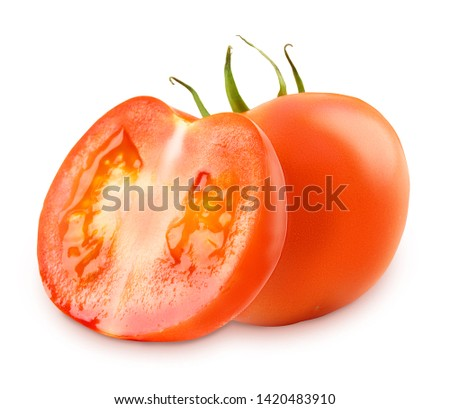 Fresh tomatoes isolated on white background. Design elements with clipping path (clipping path is only on objects, not on shadows) #1420483910