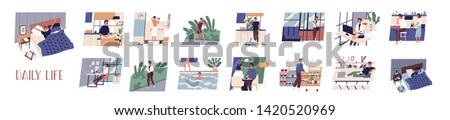Bundle of daily leisure and work activities performing by young man. Set of everyday routine scenes. Guy sleeping, working, jogging, grocery shopping, relaxing. Flat cartoon vector illustration. Royalty-Free Stock Photo #1420520969