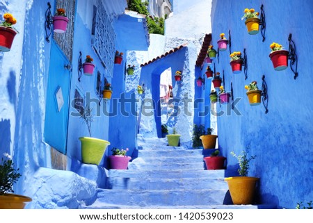 Traditional moroccan architectural details in Chefchaouen, Morocco, Africa #1420539023