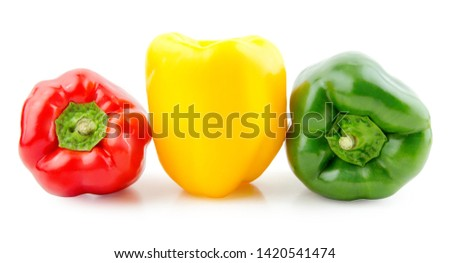 Fresh red, green and yellow peppers on white background with clipping path (clipping path is only on objects, not on shadows) #1420541474