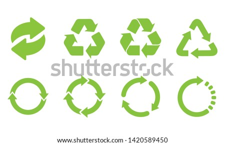 Green recycle in triangle, rectangle, circle shape. Recycling set symbol vector. Eco green recycled symbol set vector illustration isolated on white background. Royalty-Free Stock Photo #1420589450