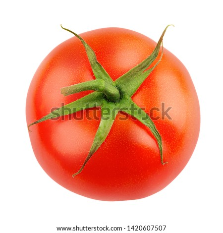 Fresh tomato isolated on white background - top view.  Design elements with clipping path (clipping path is only on objects, not on shadows) #1420607507