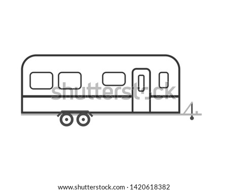 Travel rv trailer outline icon. Clipart image isolated on white background