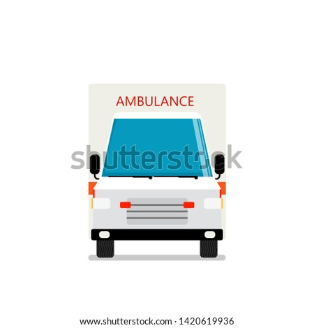 Ambulance car front view icon. Clipart image isolated on white background