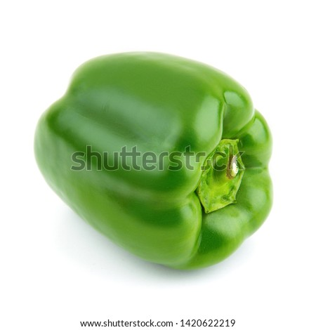 Fresh green pepper on white background with clipping path (clipping path is only on objects, not on shadows) #1420622219
