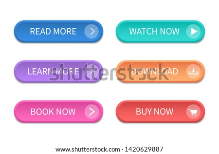 Set of modern buttons for web site and ui. Vector icon. Royalty-Free Stock Photo #1420629887