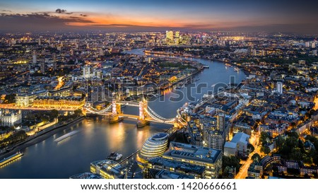London Skyline with Tower Bridge at twilight #1420666661