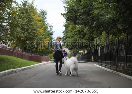 Lovely girl on a walk with a beautiful fluffy dog Samoyed #1420736555