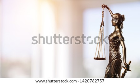 Symbol of law, Themis in modern hall. Justice and law in business. Legal system.          - Image #1420762757