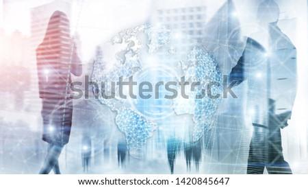 3D earth hologram, Globe, WWW, Global Business and Telecommunication. #1420845647