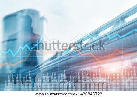 Business Financial Trading Investment concept graph virtual screen double exposure. #1420845722
