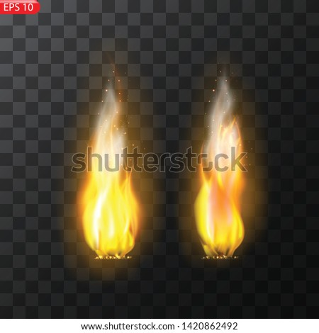 Realistic burning fire flames vector effect with transparency for design. Trail of fire.Burning flames translucent elements special Effect. #1420862492