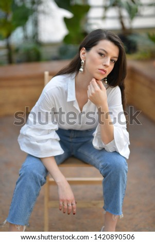 portrait of girl with white blouse in the botanic garden  #1420890506
