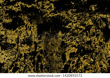 Dark grunge background of golden texture. Abstract black and gold design templates for wallpaper or design. #1420892573