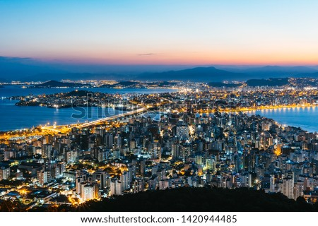 Sunset skyline view of downtown at Florianopolis city in Brazil #1420944485