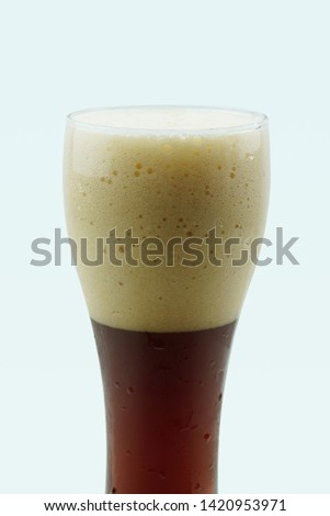 Full beer glass, A glass of cold beer macro photography, cool beer object #1420953971