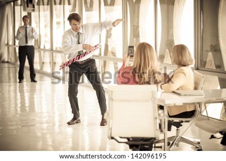 Businessmen taking a play Break in a modern office to get ideas flowing #142096195