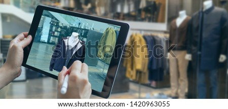 augmented mixed virtual reality to design a clothes in 3D fashion design software program creating virtual, true-to life garment visualization with cutting-edge simulation technologies for the fashion #1420963055