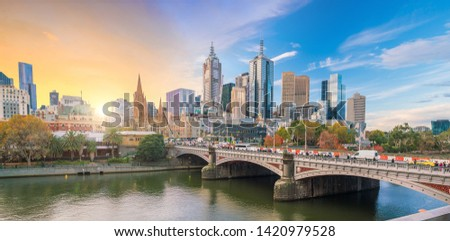 Panorama view of Melbourne city skyline at twilight in Australia #1420979528