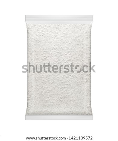 Flour in Plastic Packet. White Flour in Clear Packaging #1421109572