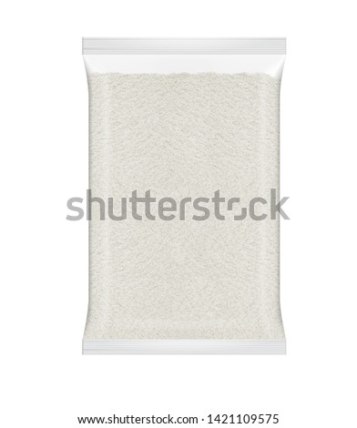 Maize Meal in Clear Packaging. White Maize Meal. Corn Flour in Transparent Packet #1421109575