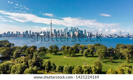 Toronto skyline and Lake Ontario aerial view, Toronto, Ontario, Canada.