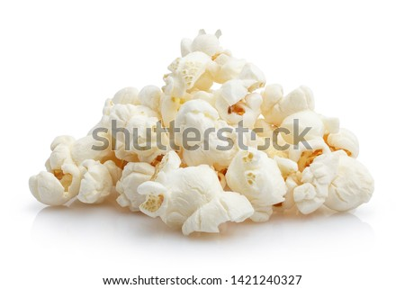 Heap of delicious popcorn, isolated on white background #1421240327