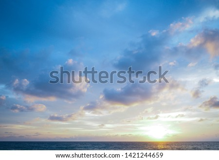 seascape and sun on blue sky background #1421244659