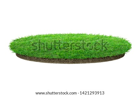 Abstract green grass texture for background. Circle green grass pattern isolated on a white background with clipping path. #1421293913
