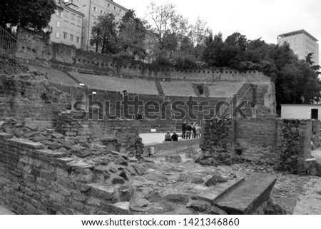 TRIESTE ITALY 05 20 19: Trieste ancient Teatro Romano, Roman Amphitheater. Dating back to the 1st Century AD it was built by Quintus Petronius Modestus during the reign of Emperor Trajan #1421346860