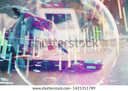 International business hud over woman's hands writing background. Concept of hard work. Double exposure #1421351789