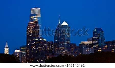 View of downtown Philly from The Rocky Steps at the Philadelphia Museum of Art,  Pennsylvania.