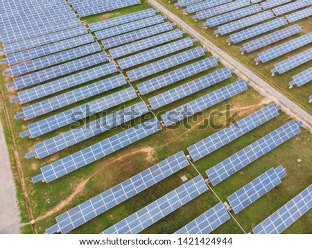 Top view image Solar cell panels on the ground #1421424944
