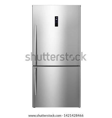 Bottom Mount Refrigerator Isolated on White. Modern Kitchen Domestic Major Appliances. Stainless Steel Side by Side Double Door Full Frost Free Fridge Freezer Side View. Household Electrical Equipment #1421428466