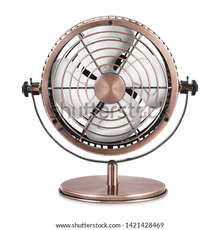 Desk Fan Isolated on White Background. Copper Retro Ventilator. Front View of Vintage Electric Fan. Metal Table Fan. Pedestal Fans. Cooling Fans. Domestic Electric Small Appliances #1421428469