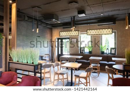 Minsk, Belarus - April 26, 2019: interior shot of stylish restaurant #1421442164
