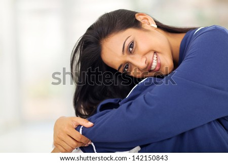close up portrait of pretty indian woman wearing nightclothes #142150843