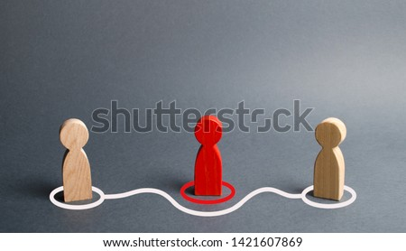 Two human figurines contact around the red figurine. Direct negotiations without intermediaries. Refusal of the services of a realtor, purchase of goods from the manufacturer. Speculators. Gossip. #1421607869