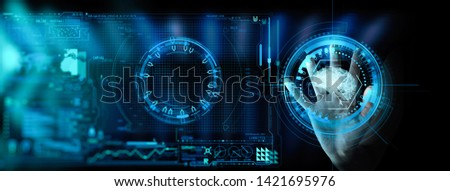 Artificial intelligence (AI) with machine deep learning and data mining and another modern computer technologies UI by hand touching low poly icon. #1421695976