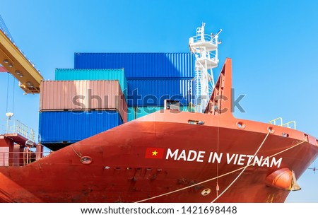 Trade war , Made in Vietnam smart logistic concept. Shipping Cargo ship business Container import and export company for Logistics and Transportation.Chinese investment toward Southeast Asia. #1421698448