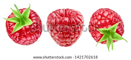 Ripe raspberries isolated on white background close up. Raspberries collection Clipping Path. Professional studio macro shooting #1421702618